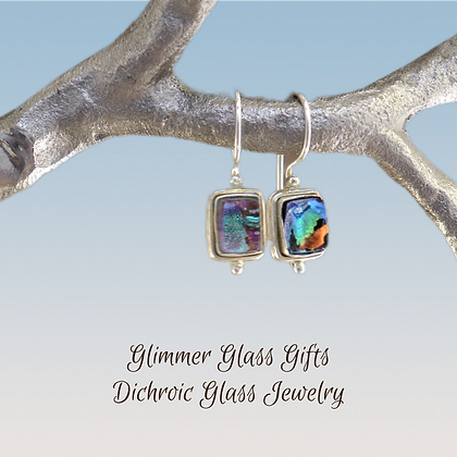Dichroic Glass Small Rectangle Sterling Silver Earrings