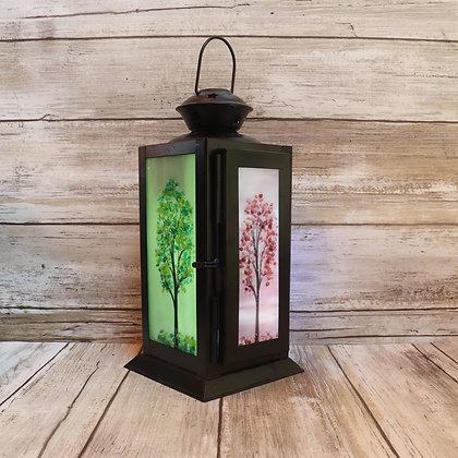 Fused Glass Lanterns, Four Season Trees, #4