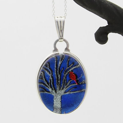 Sterling Silver Oval Tree with Cardinal Pendant Wholesale
