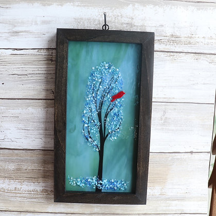Fused Glass Framed Window Hanging, tree with cardinal - Wholesale