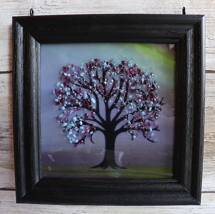 """Fused Glass Tree Window Hanging in a 4"""" x 4"""" Black Frame - Wholesale"""
