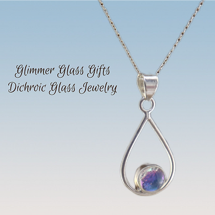 Dichroic Glass Wire Teardrop with Dot Sterling Silver Necklace