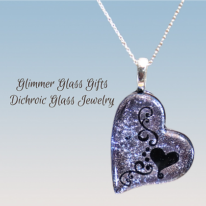 Dichroic Scroll Heart pendant and earrings wholesale