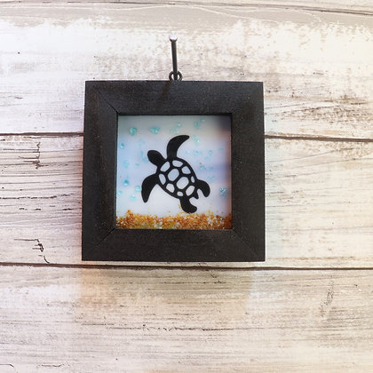 Fused Glass Framed Window Hanging, Turtle - Wholesale