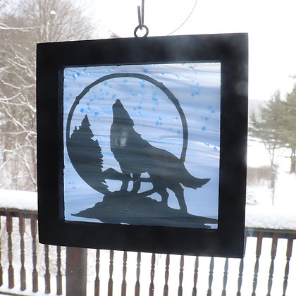 Fused Glass Sun Catcher, Howling Wolf, Window Hanging