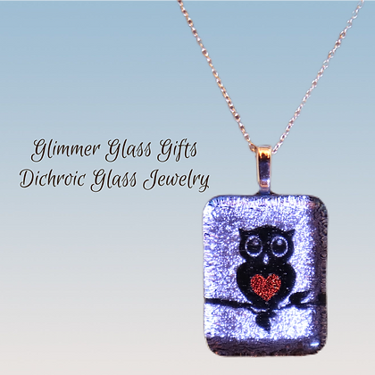 Owl with a heart belly pendant and earrings