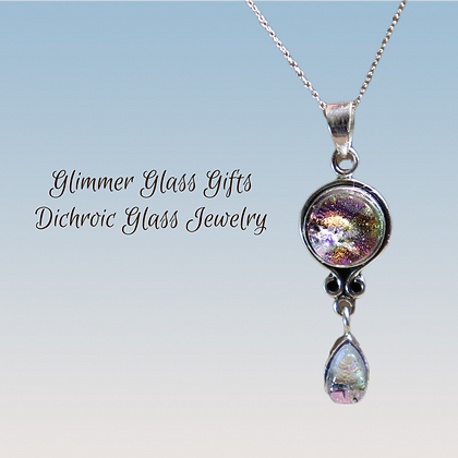 Dichroic Glass Circle and Teardrop Sterling Silver Pendant
