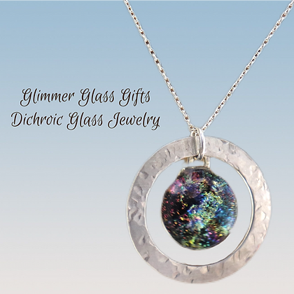 Sterling Silver Washer with Round Dichroic Button wholesale