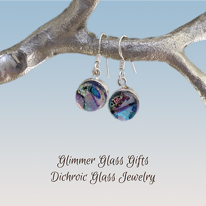 Dichroic Glass Round Sterling Silver Earrings