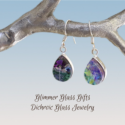Dichroic Glass Teardrop Sterling Silver Earrings