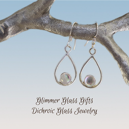Dichroic Glass Wire Teardrop with Dot Sterling Silver Earrings