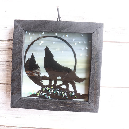 Fused Glass Sun Catcher, Howling wolf Window hanging