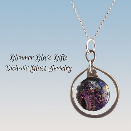 Dichroic Glass Infinity Knot Sterling Silver Necklace