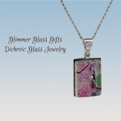 Dichroic Glass Large Rectangular Sterling Silver Necklace