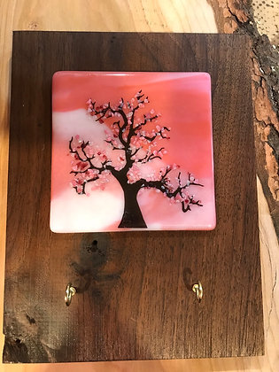 Cherry blossom plaque with key holders
