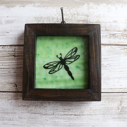 Fused Glass Framed Window Hanging, Dragonfly - Wholesale