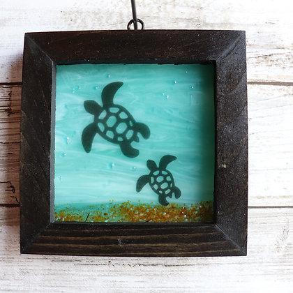 Fused Glass Framed Window Hanging, Turtles - Wholesale