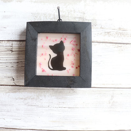 Fused Glass Framed Window Hanging, Cat - Wholesale
