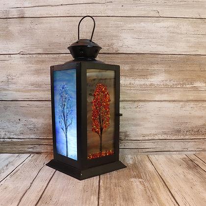 Fused Glass Lanterns, Four Season Trees, #3