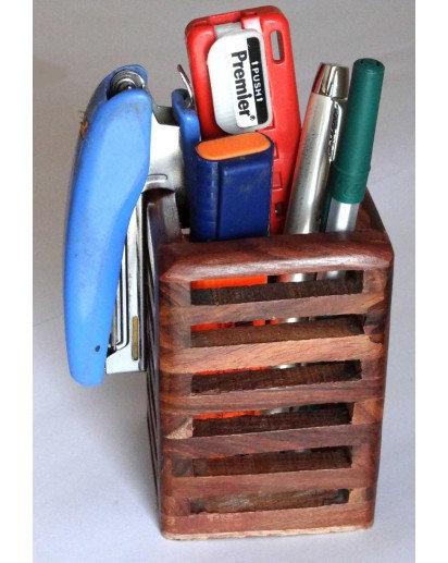 Wooden Pen stand, Classic Square DESK ORGANIZER