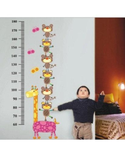 60x90cm, kids height chart Monkeys Wall Decal