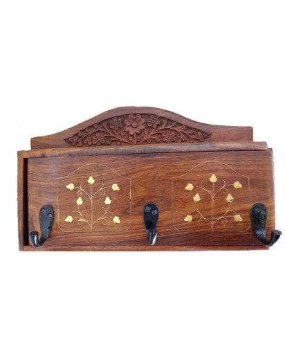 Handicraft Wooden Key holder Sliding with Coat hangers
