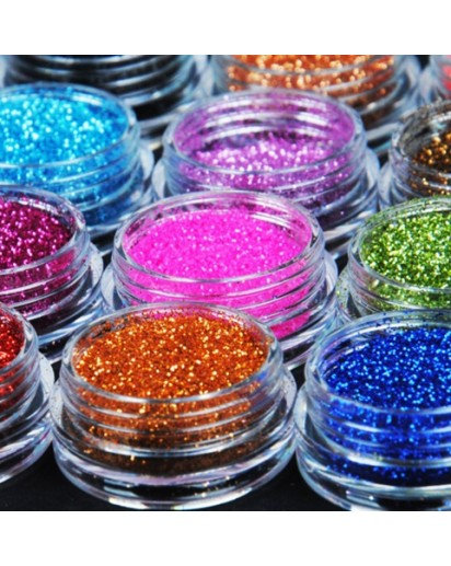 12 Color Glitter, for Candle, Decoration, Nail Art