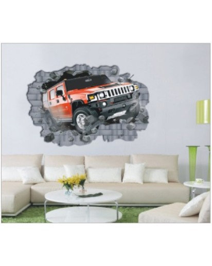 70x100cm, Jeep Ramped in room WALL DECAL