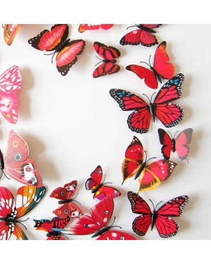 Wall sticker, Set of 12 Butterfly, Red & Black