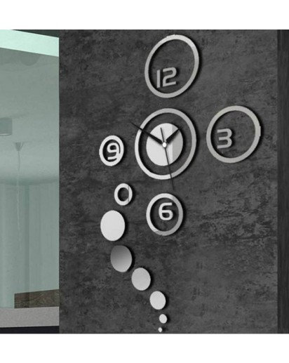 Metal wall Sticker Clock, Mirror Trendy Wall Clock Black silver rounds