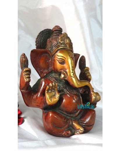 Ganesha Statue, Heavy Brass Antique Finish
