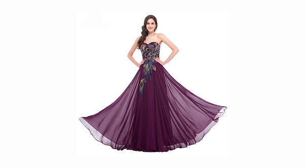 Strapless Peacock evening gown dress