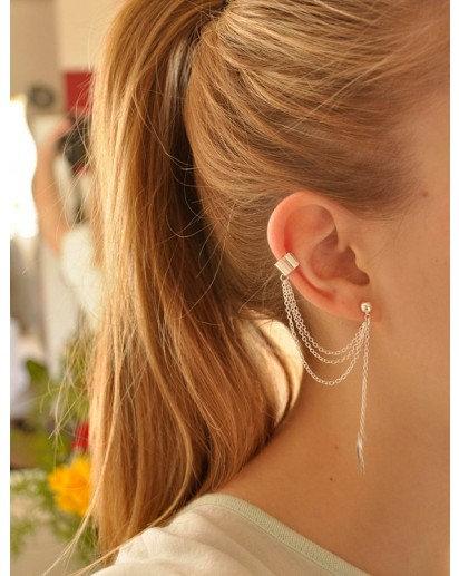 Metal Ear Clip Leaf Tassel Earrings pendents