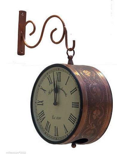 Vintage station clock, Leaf Carving design