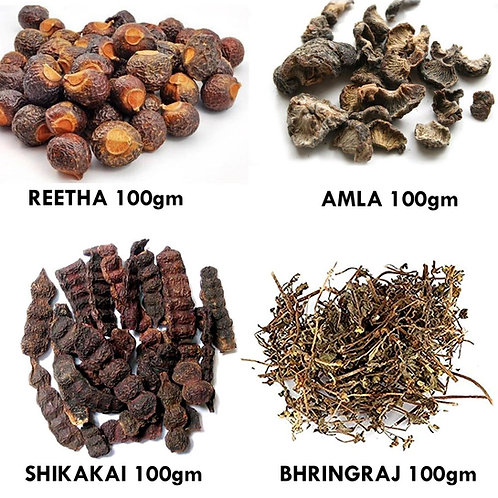 Herbal shampoo kit- Reetha, Aamla, Shikakai, Bhringraj  100gm each
