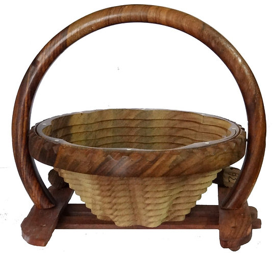 Wooden folding fruit basket