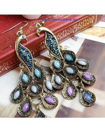 peacock long Tassel Earrings, Modern design