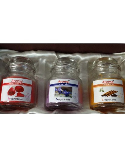 Glass Jar Candles, Beautiful Gift Pack of 3 Candles