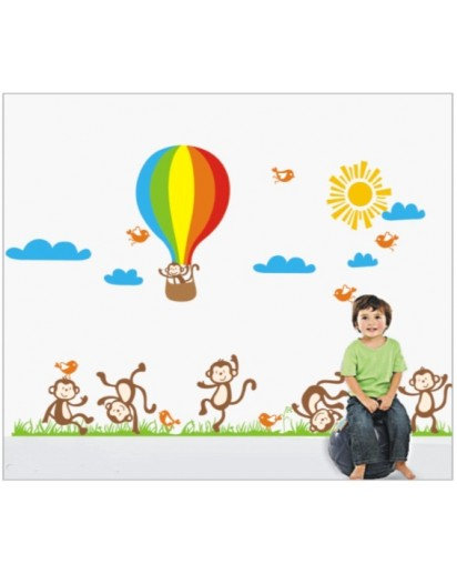 60x90cm, 6 monkey story Wall Decal Kids Sticker