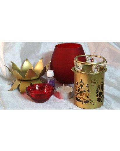 Aroma Lamp- Laxmi Ganesh, Glass with Beads