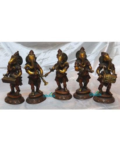 Ganesha Music Group Statues, Set of 5
