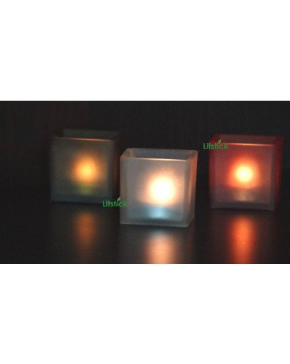 Frosted Glass, Square Tealight holder