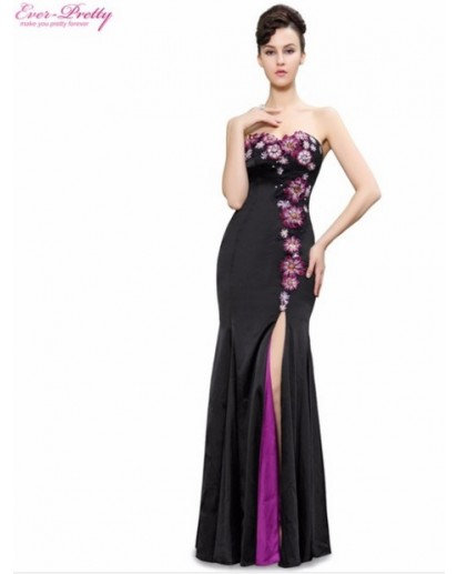 Strapless Flowers Sequins Slitted Trailing Evening Dress