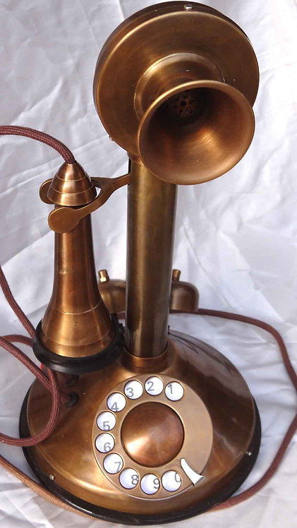 Antique Copper finish phone with corded ear mike