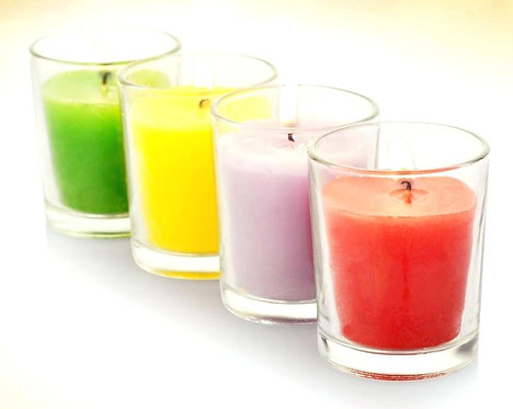 Glass Scented Votives, Set of 6 Candles