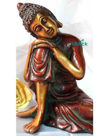 Resting Buddha Statue, Heavy Brass Antique Finish