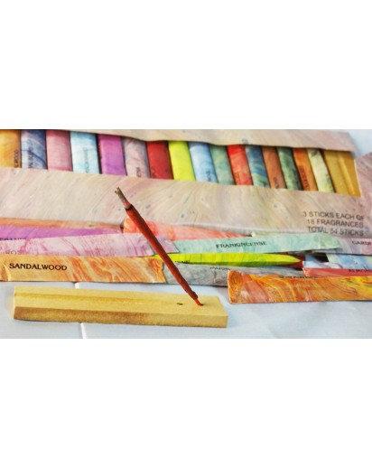 Incense Sticks, set of 18 different fragrance with holder