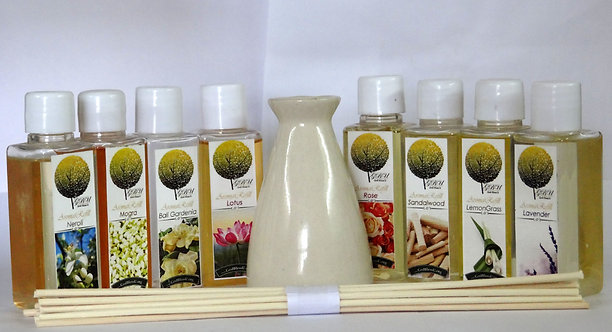 Reed Diffusers VALUE pack of 8 bottles+Ceramic Pot+Reed sticks,6 Month Aroma set