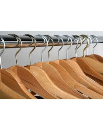 6 PC WOODEN HANGERS (NATURAL COLOR)