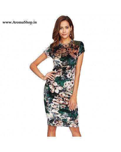 Floral Velvet Short Sleeve Knee Length Elegant Pencil Dress